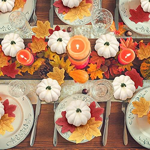 DomeStar Artificial Pumpkins Set, 12PCS White Fake Pumpkins with 30PCS Maple Leaves 1PC String Lights Fall Harvest Mini Pumpkins Faux White Pumpkins for Halloween Thanksgiving Decorations