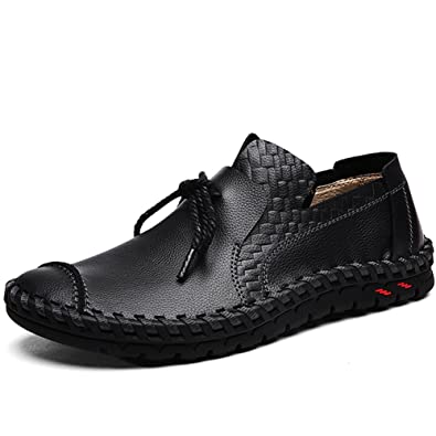 LakeRom Men' Loafers Shoes For Men Slip On Shoes Casual Leather Shoes  LR881-Black1