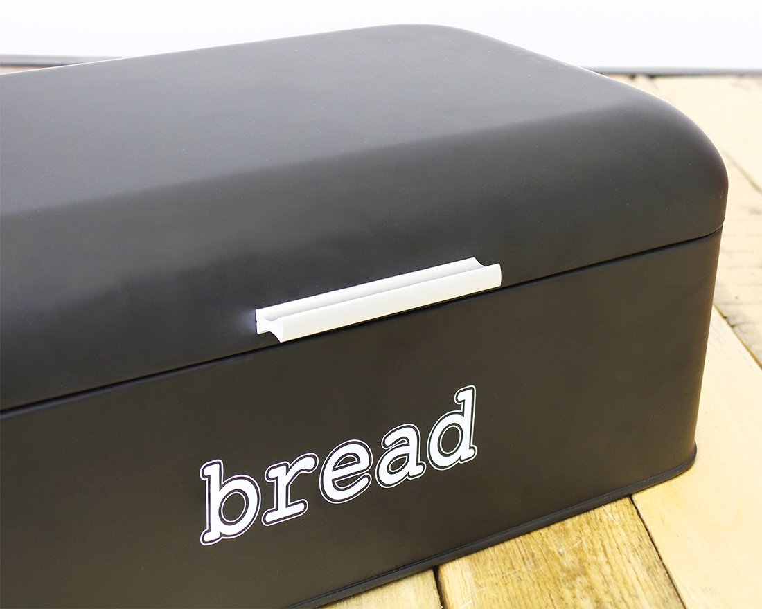 Pastries Bread Box for Kitchen Counter Stainless Steel Bread Bin Storage Container for Loaves and More 16.75 x 9 x 6.5 inches Matte Black Retro//Vintage Inspired Design