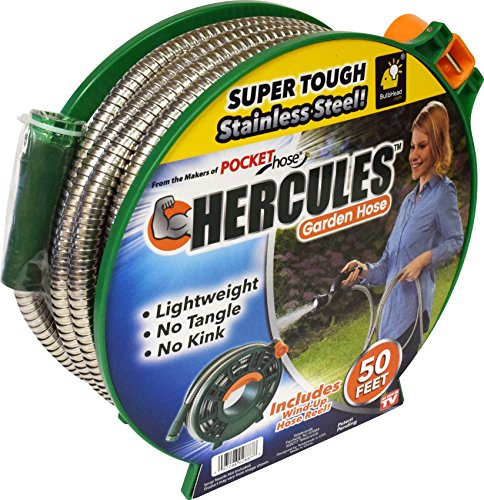 Hercules 50 FT Super Tough Stainless Steel Garden Hose by As Seen on TV Lightweight Wont Tangle Tear or Kink