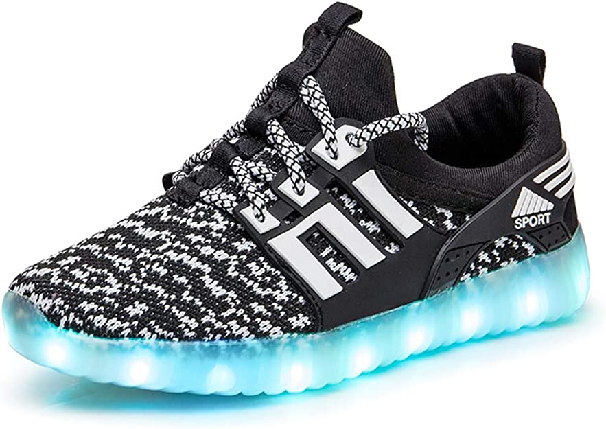 edv0d2v266 Kidsd LED Light-Up Luminous Shoes Lace Up Trainers Casual USB Charging