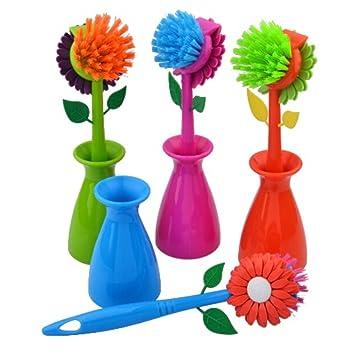 Multipurpose Floral Dish Scrub Brush W/ Holder Assorted Colors