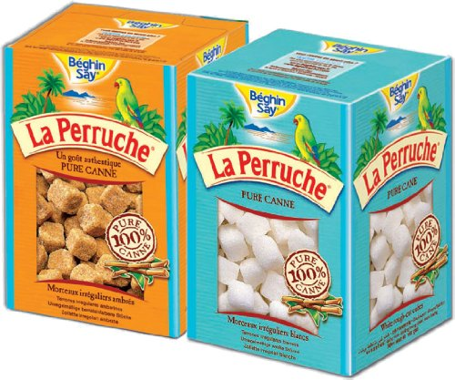 (La Perruche 2 x 250g Sugar Cube Set - 1ea of White and Brown Sugar Cubes )