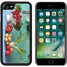 Luxlady Premium Apple iPhone 7 Aluminum Backplate Bumper Snap Case iPhone7 IMAGE ID: 26954222 vairious vegetables and kitchen retro kitchen utensils
