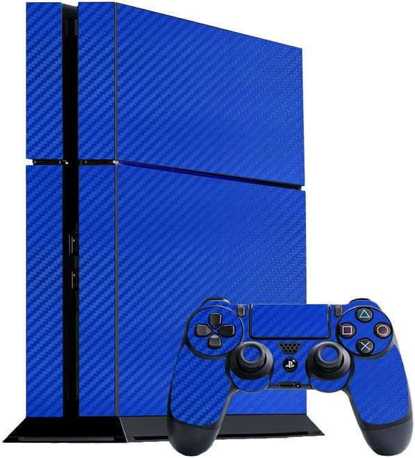 3D Carbon Fiber Candy Blue - Air Release Vinyl Decal Faceplate Mod Skin Kit for Sony PlayStation 4 (PS4) Console by System Skins