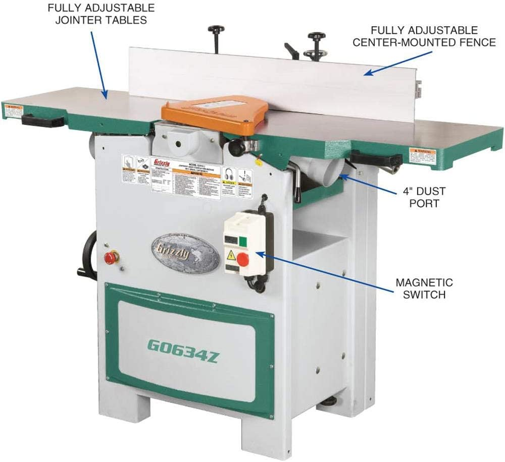 Grizzly G0634z Planer Jointer With Spiral Cutter Head 12 Power Planers Amazon Com