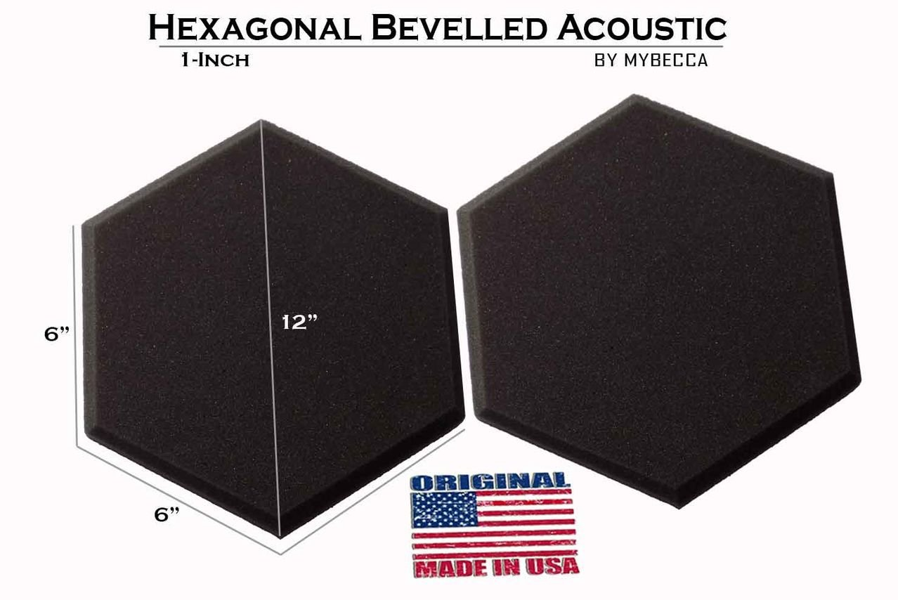 Mybecca [48 PACK] Acoustic HEXAGONAL Bevelled Tiles Soundproofing Wall Panels 1 inch by 12 inches, Made in USA