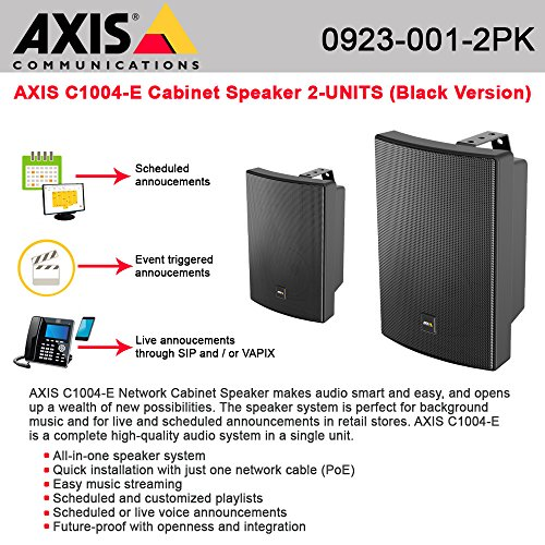 AXIS C1004-E Network Cabinet Speaker Black w/ single cable PoE 2-UNITS by AXIS COMMUNICATION INC.
