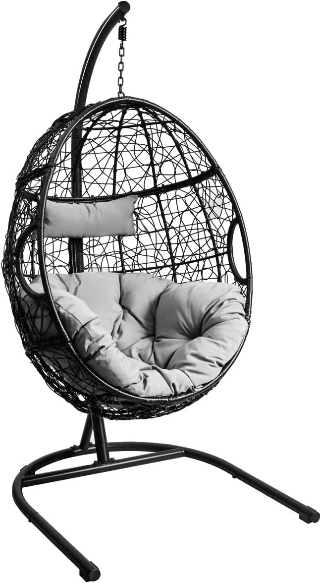 Amazon Com Giantex Hanging Egg Chair Swing Chair With C Hammock Stand Set Hammock Chair With Soft Seat Cushion Pillow Multifunctional Hanging Chairs For Outdoor Indoor Bedroom Gray Kitchen Dining