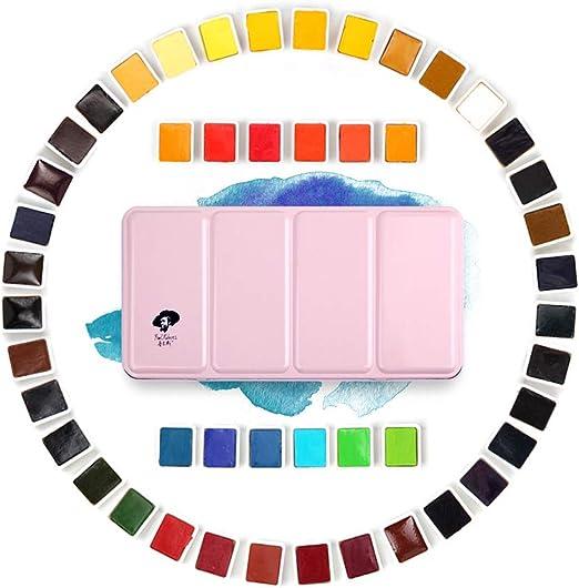 Rubens Mini Portable 12 colors Solid Watercolor Pigment Paint Shinning Box Set