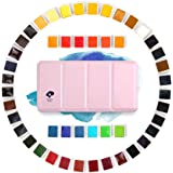 Paul Rubens Watercolor Paints, 48 Colors Watercolor Set Artist Grade Solid Cakes, Portable with Pink Metal Box Case