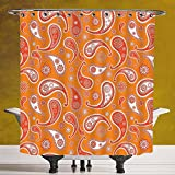 Unique Shower Curtain 3.0 by SCOCICI [ Burnt Orange,Islamic Paisley Ethnic Unusual Motifs with Eastern Oriental Patterns Decorative Decorative,Orange White ] Polyester Fabric Bathroom Shower Curtain