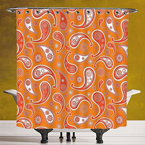 Unique Shower Curtain 3.0 by SCOCICI [ Burnt Orange,Islamic Paisley Ethnic Unusual Motifs with Eastern Oriental Patterns Decorative Decorative,Orange White ] Polyester Fabric Bathroom Shower Curtain by SCOCICI