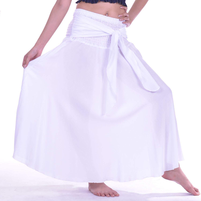 Lofbaz Women's Long Bohemian Maxi Skirt Hippie Gypsy Boho Dress - Solid White - OS