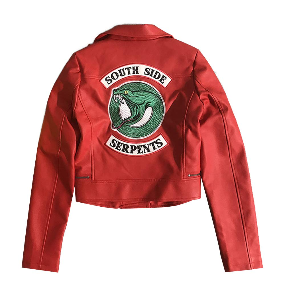 Girls Riverdale Southside Serpents Biker Gang Giacca in Pelle Nera per Ragazze-4