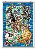 Amia Tiffany Garden Cat Glass Window Décor Panel, 15-1/2'' High, Multicolored