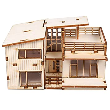 Amazoncom Desktop Wooden Model Kit Modern House Toys  Games - Modern house kits