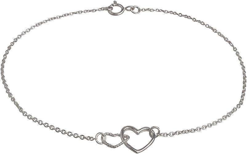 bracelet argent avec 2 coeurs