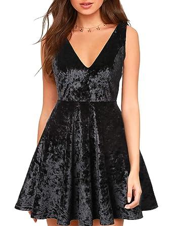 Blooming Jelly Womens Deep V Neck Backless Mini Velvet Dress Sleeveless  Black Cocktail A-Line 11f13ed199e2