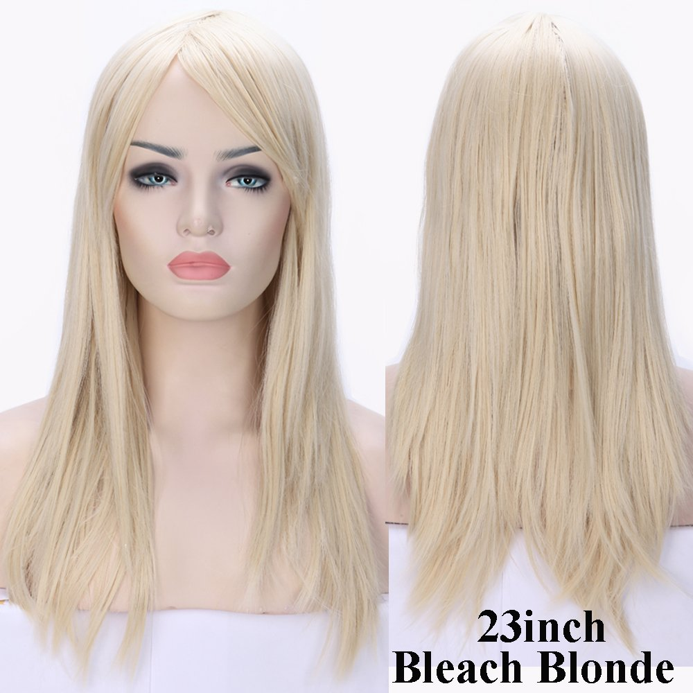 S-noilite Women Full Hair Wig Long Straight Natural Cosplay Daily Party Costume Dress Bangs Wigs (23''-Straight, Bleach Blonde)