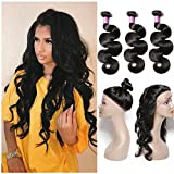Cheap Sheng Qi Hair 8A Grade 360 Lace Frontal Closure with Bundles Brazilian Body Wave Virgin Hair Bundles with 360 Lace Frontal Unprocessed Human Hair with 360 Frontal 18 20 22+16 360frontal, Natural Color