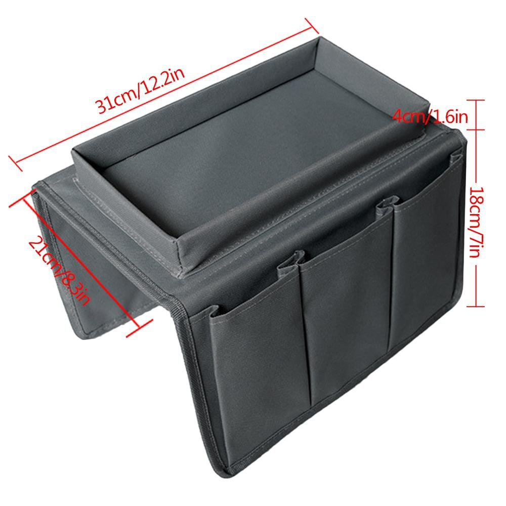 Aolvo Couch Chair Table Cabinet Storage Space Saver Bags Remote Control Holder Fits for Phone Book Magazines 6 Pocket Grey Sofa Armrest Organizer With Tray