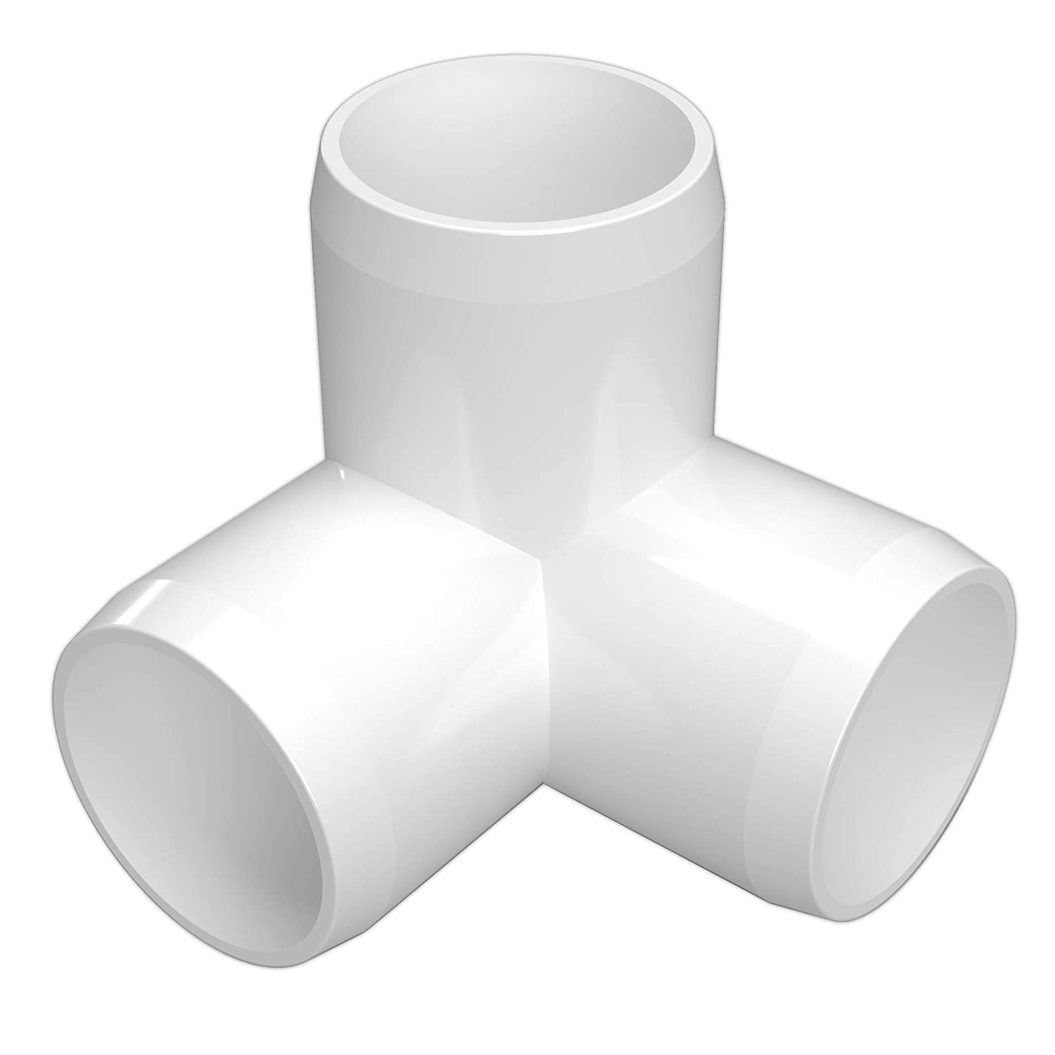 "FORMUFIT F1123WE-WH-4 3-Way Elbow PVC Fitting, Furniture Grade, 1-1/2"" Size, White (Pack of 4)"