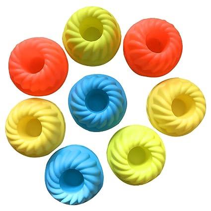 Muffin moldes 8 * 3,5 cm reutilizables espalda moldes de silicona pastel de postre
