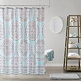 Blue Toile Shower Curtain Comfort Spaces Aqua Blue/Grey Shower Curtain - Adele Shower Curtains for Bathroom - Modern Gray Printed Medallions Pattern - 72