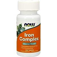 Now Foods   Iron Complex (ijzercomplex)   27 mg   100 veganistische tabletten