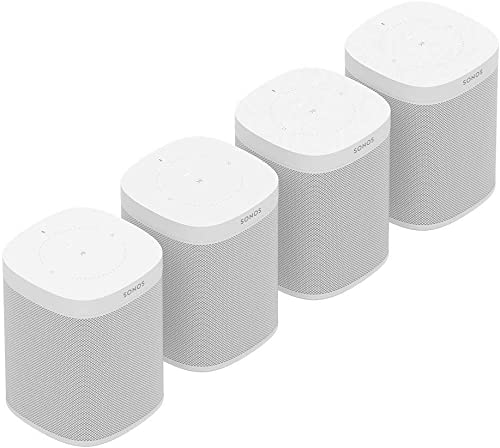 Sonos One Gen 2 Multi-Room Voice Controlled Smart Speakers Bundle 4-Pack – White