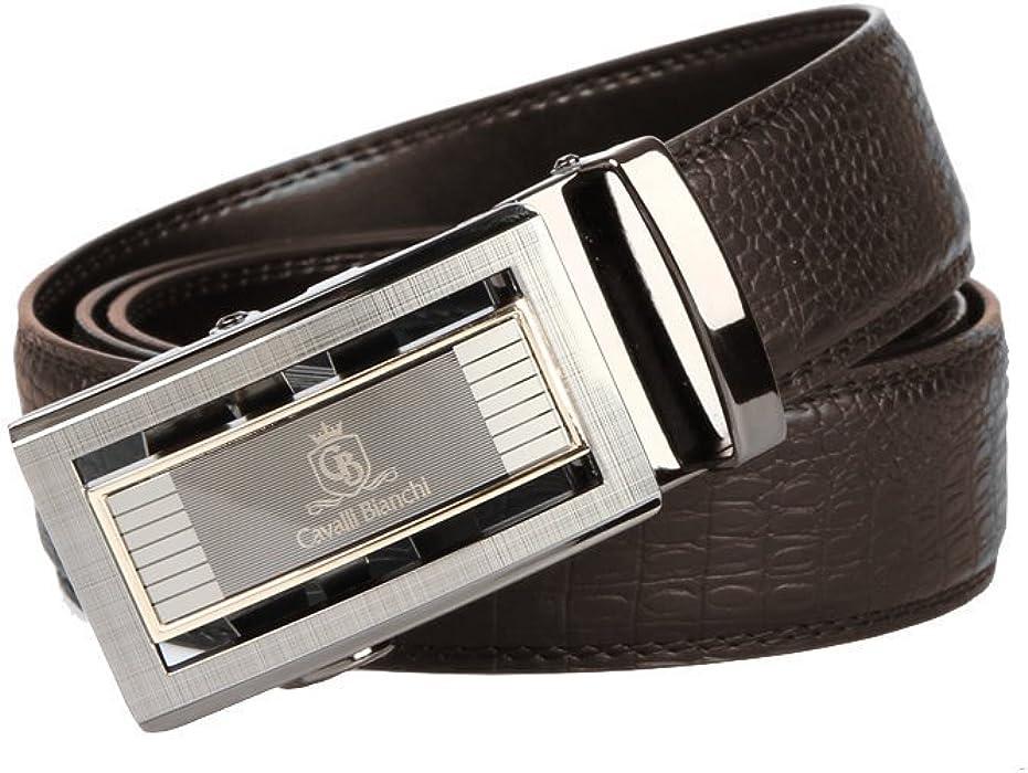 Men Belt 100/% Genuine Leather Cavalli Bianchi Fashion Dress Auto Lock Buckle #4