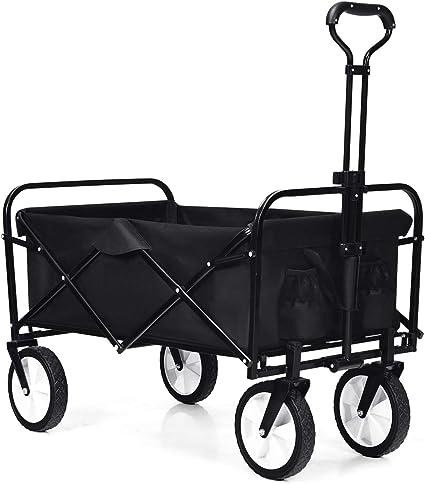 COSTWAY Carro para Compra con Ruedas Plegable Carrito de Mano Carga hasta 150kg para Jardín Playa Camping