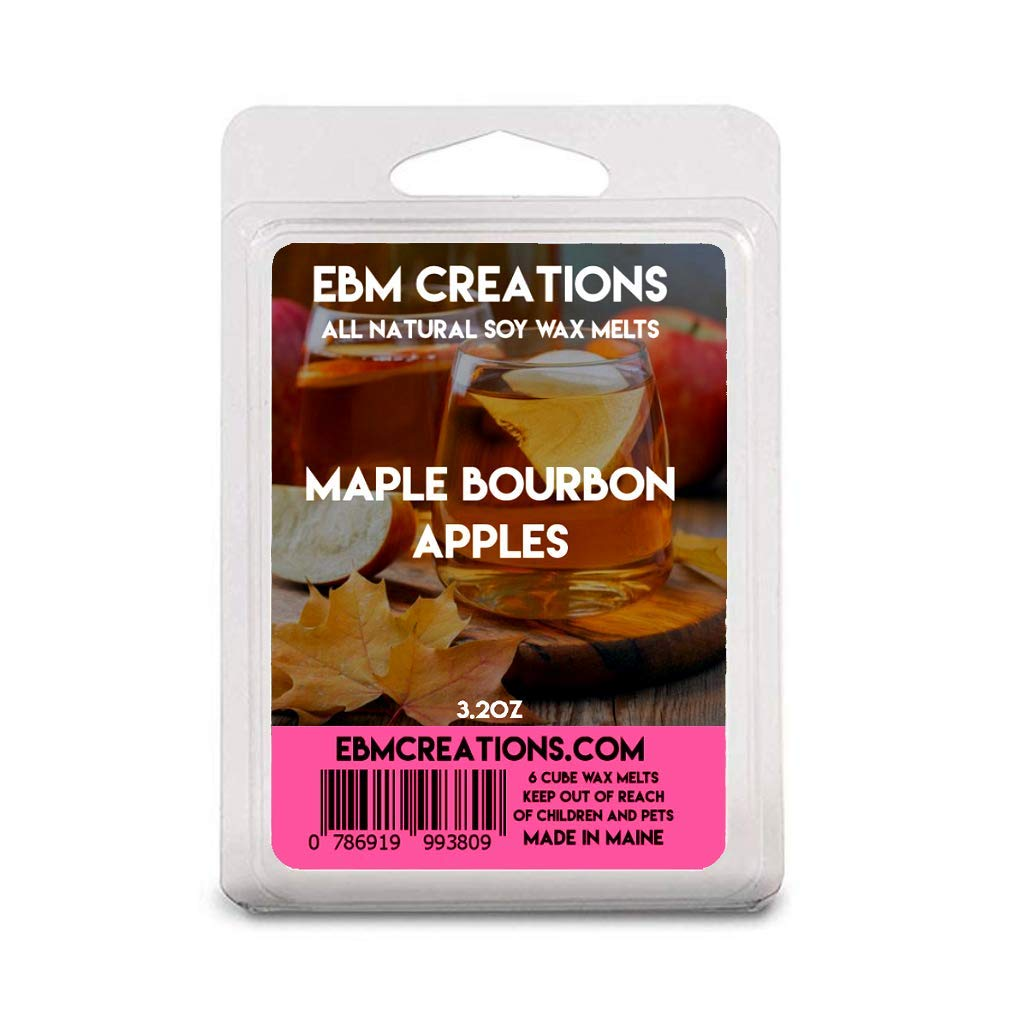 Maple Bourbon Apples | Scented All Natural Soy Wax Melts | 6 Cube Clamshell 3.2oz Highly Scented!