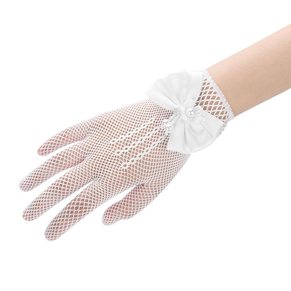 Flower Girl Gloves Lace Princess Short Gloves with Satin Bows Stretch Mesh Gloves for Wedding Ball Girl Dress Cosplay Party Gloves