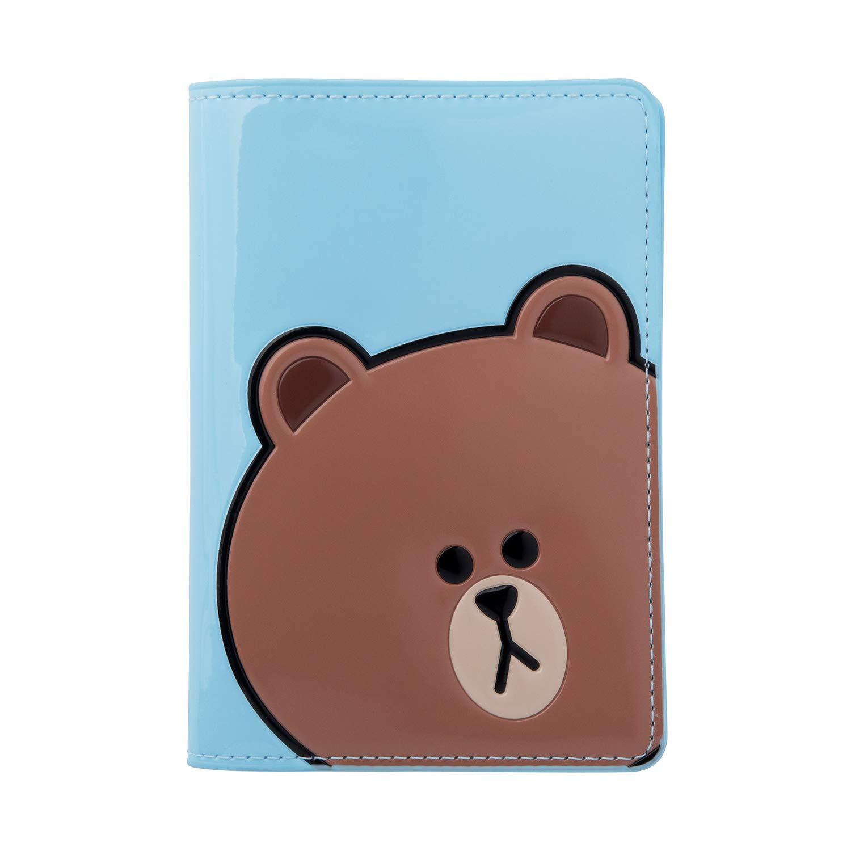 Line Friends Enamel Passport Holder - BROWN Character Wallet Cover Travel Organizer, Sky Blue