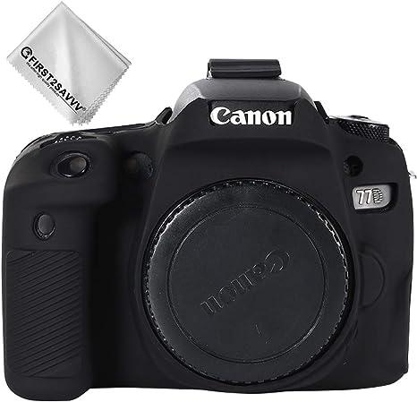 Negro Cuerpo Completo Caucho de TPU Funda Estuche Silicona para cámara para Canon EOS 77D E0S 9000D: Amazon.es: Electrónica