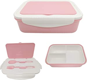 Bento Box, Lunch Box for Kids Adults, 3 Compartment Bento Lunch container, Food Storage Container Boxes, BPA Free On-the-Go Meal Prep Containers, Microwave/Dishwasher/Freezer Safe (PINK)