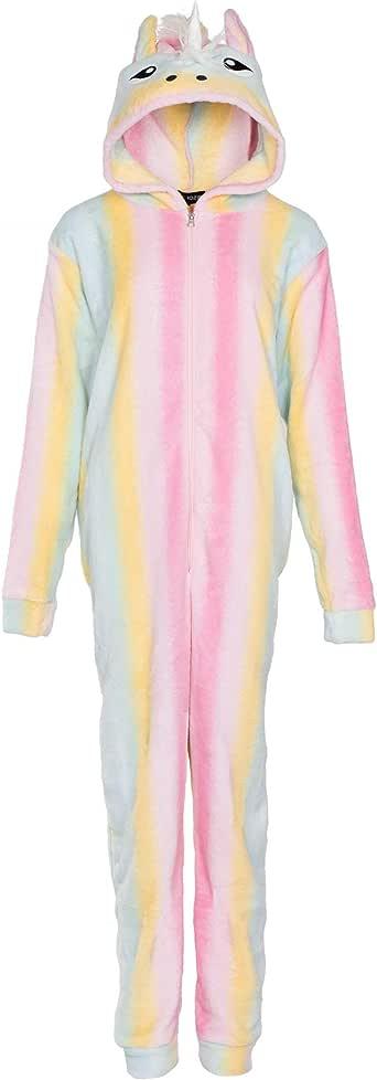 NOROZE Kids Pyjamas Girls Women's Onesie Fleece Rabbit Rainbow Unicorn Hood All in One Mom Daughter Matching Jumpsuit (9-10 Years, Unicorn Rainbow)