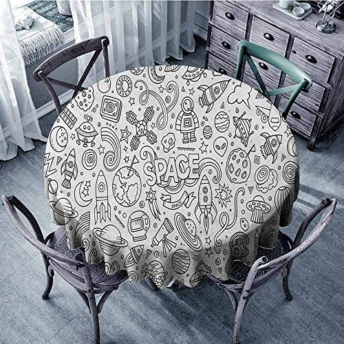 ScottDecor Restaurant Round Tablecloth Wrinkle Free Tablecloths Boys,Astro Sketch Abstract Planets in Doodle Drawing Style Childrens Cartoon Composition, Black White Diameter 60