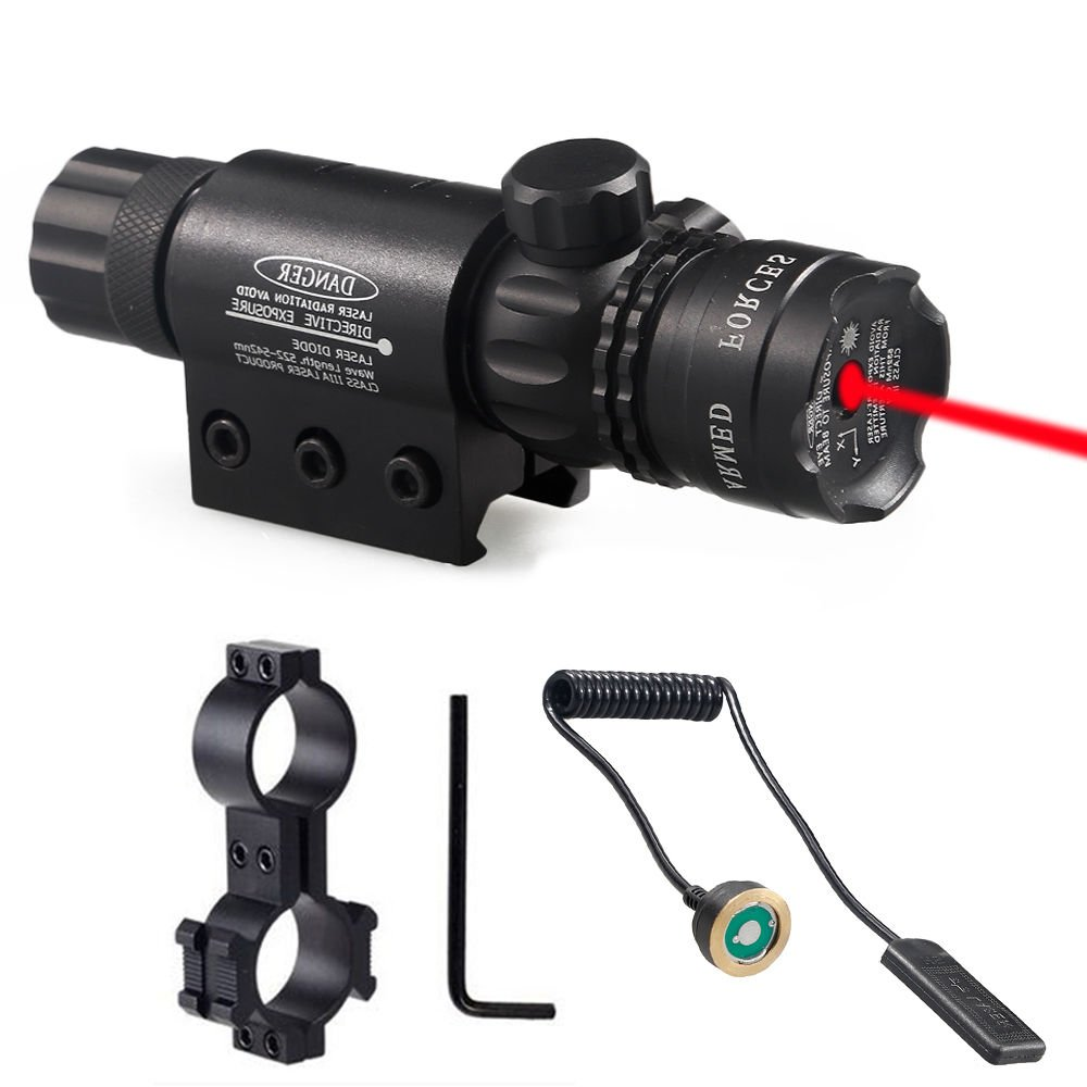 AceZone Adjustable Red Dot Laser Sight, 532nm Red Beam Rifle Scope Sight w/ Picatinny Rail & Barrel Mount Cap Pressure Switch Rechargeable