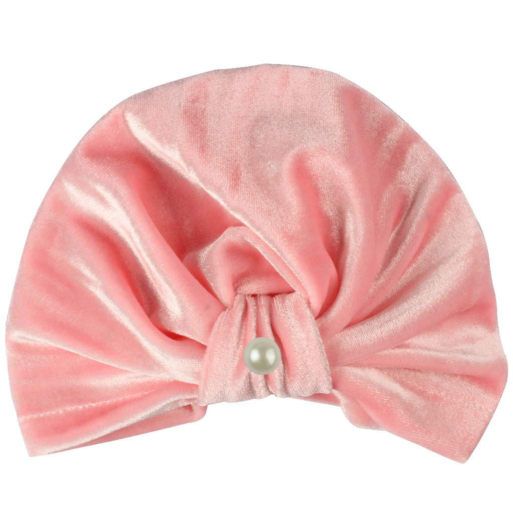 MALLOOM Newborn Baby Boy Girl Pearls Pleuche Knotted Hat Beanie Cap Headwear Pink