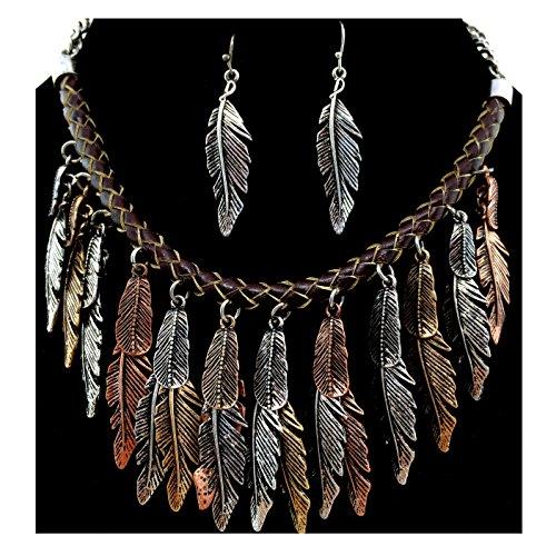 Western Peak Bohemian Tritone Tassels Metal Feathers Necklace with Earrings ()