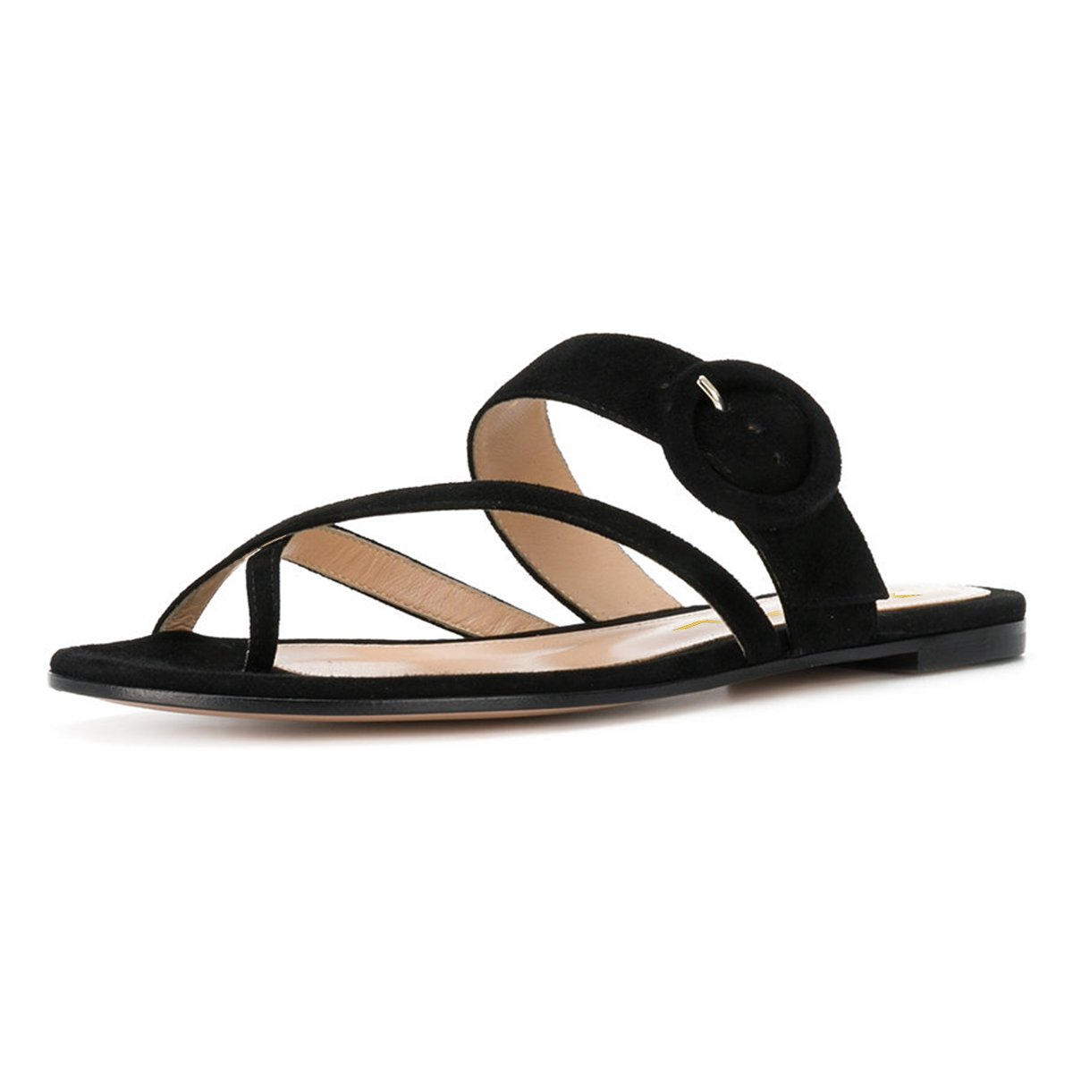 YDN Women Casual Flip Flops Sandals Slip on Sandals Low Heels Thong Shoes with Buckle Black 15