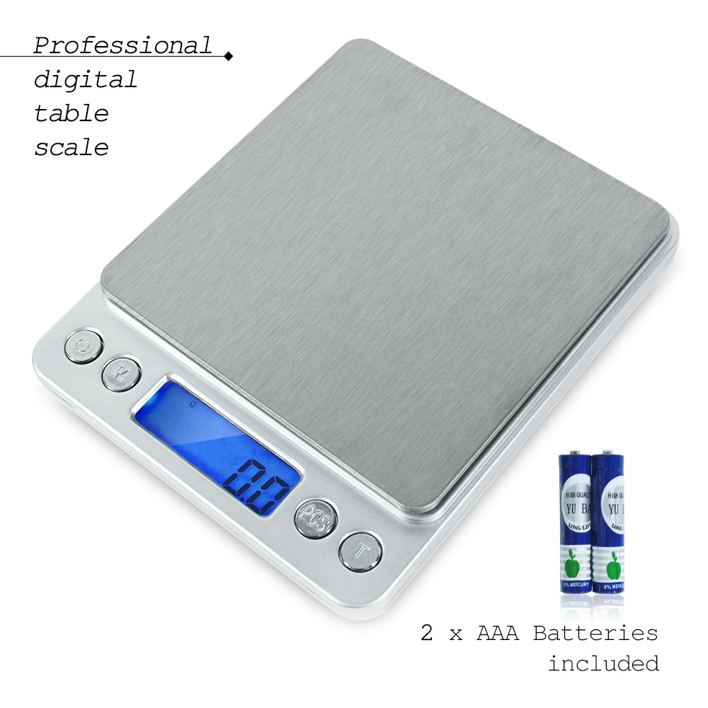 PARTYSAVING 2000g/0.1g Smart Digital Multifunction Stainless Steel Jewelry & Kitchen Food Scale, 0.001oz Resolution APL1358