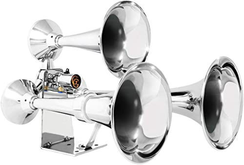 Grand General 69991 Chrome Heavy Duty Train Horn with Triple Brass Trumpet for Superior Sound