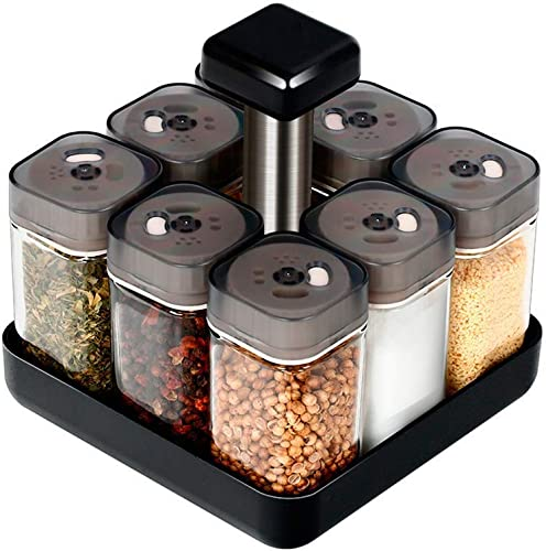 Revolving Spice Rack Organizer Caddy, Rotating Spice Storage for Cabinet and Kitchen, 8 Jar Herb and Spice Countertop Spice Rack Spices Not Included