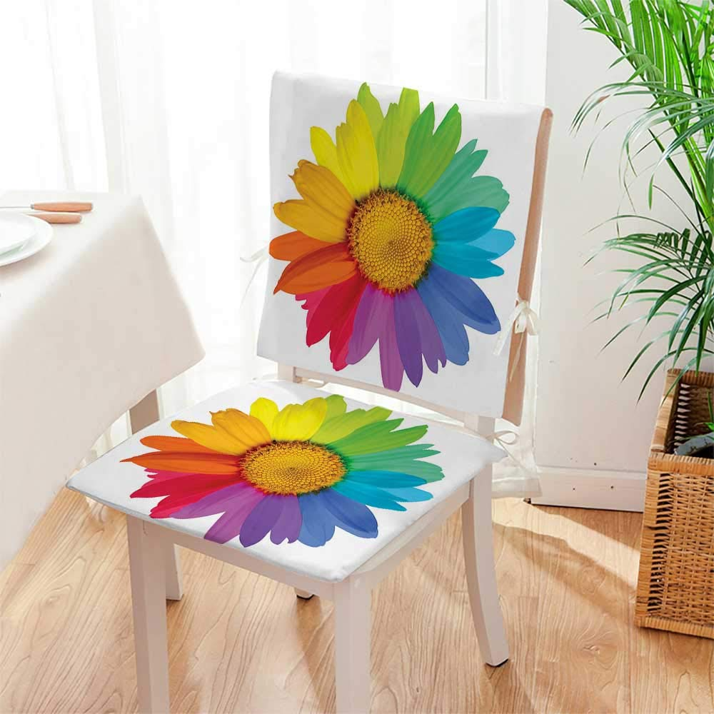 Mikihome Chair Cushion Flower Rainbow Sunflower Or Daisy Inspired Style Print 2 Piece Set Office Chair Car Seat Cushion Mat:W17 x H17/Backrest:W17 x H36