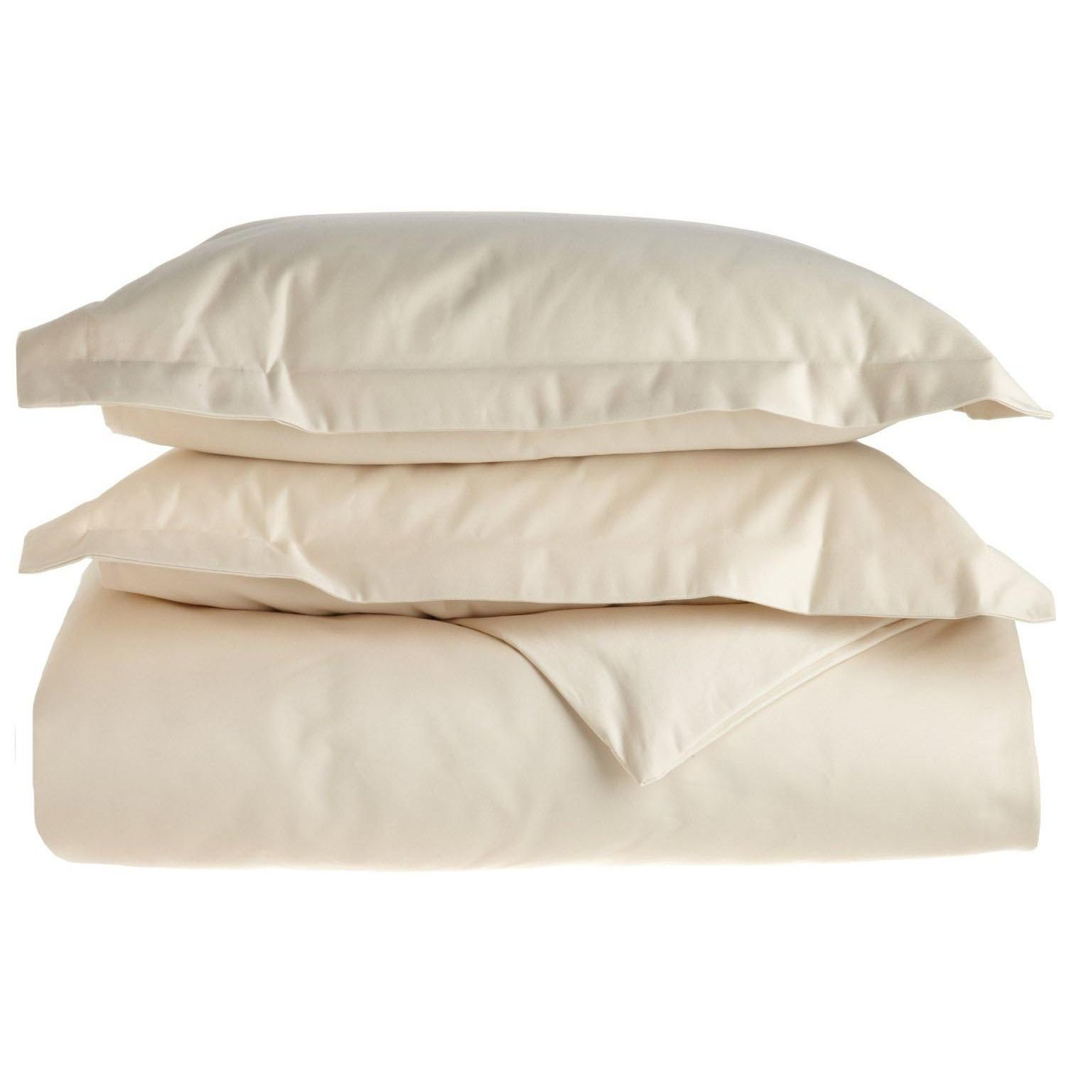 Superior 1500 Thread Count Full//Queen Duvet Cover Set Ivory IVFQDCSL1500CT Solid Single Ply