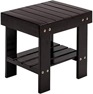 Chic Lovery 4289 Coffee Portable Multi-Functional Small Bamboo Step Stool Seat Bench Children Storage Shelf Kid Furniture Chair Living Room Spa Home Garden Patio Outdoor Foot Pad Shoe Bathroom Rest